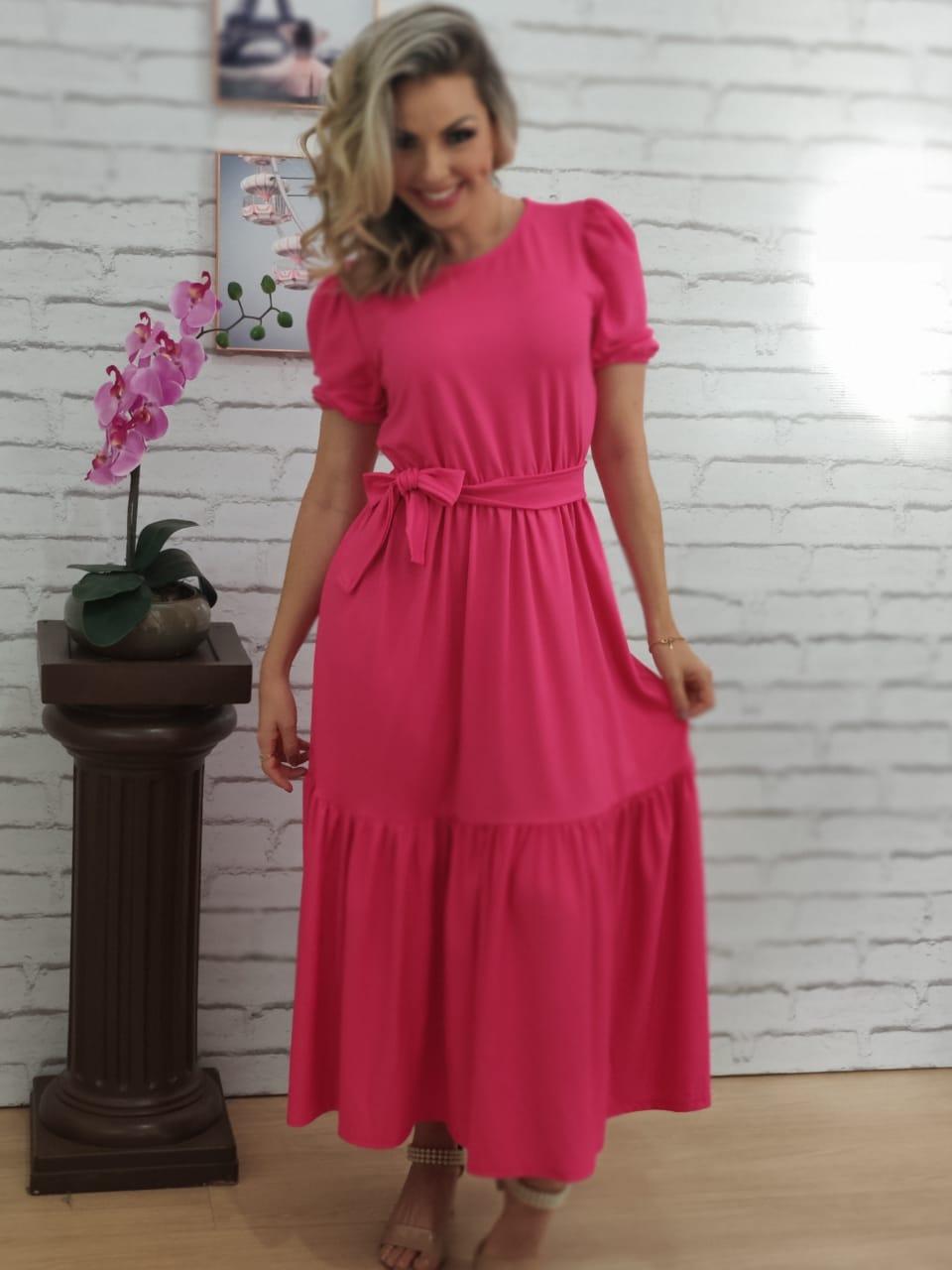 Vestido Midi Babados Pink