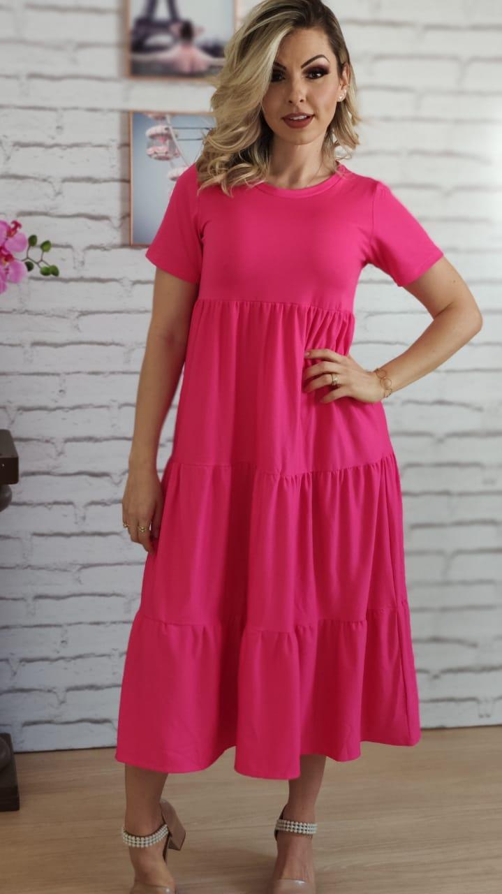 Vestido Midi Badados Pink