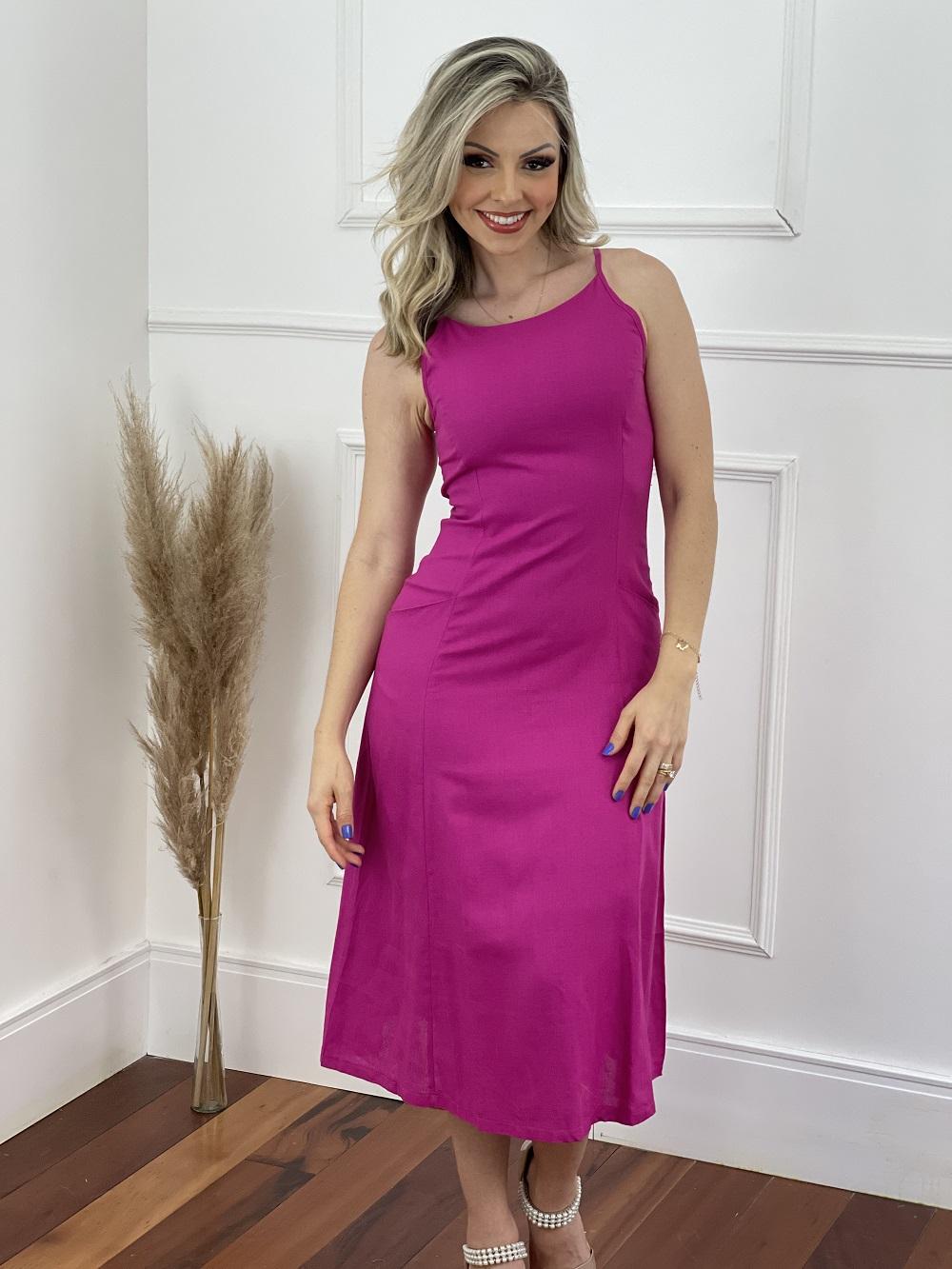 Vestido Midi Bolsos Frontais Pink