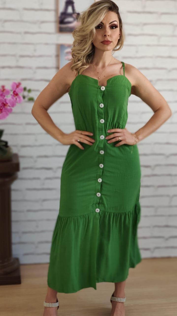 Vestido Midi Botões Verde