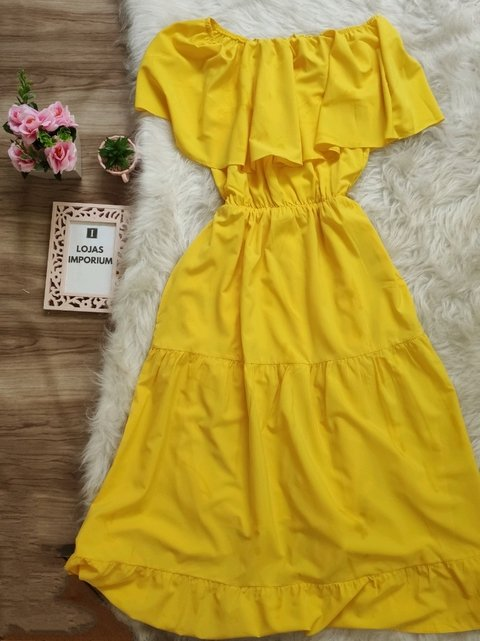 Vestido Midi Ciganinha Amarelo