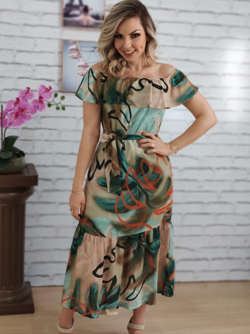 Vestido Midi Ciganinha Estampado