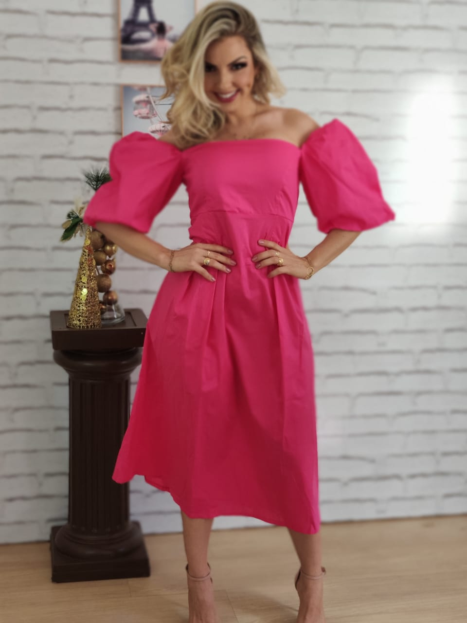 Vestido Midi Ciganinha Manga Bufante Pink