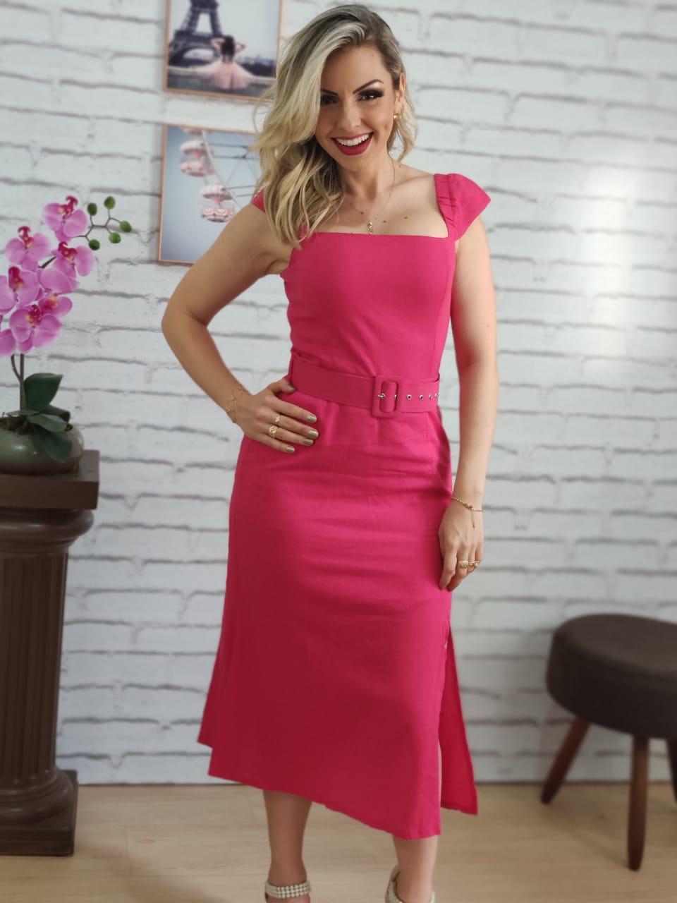 Vestido Midi Detalhe Cinto Encapado Pink