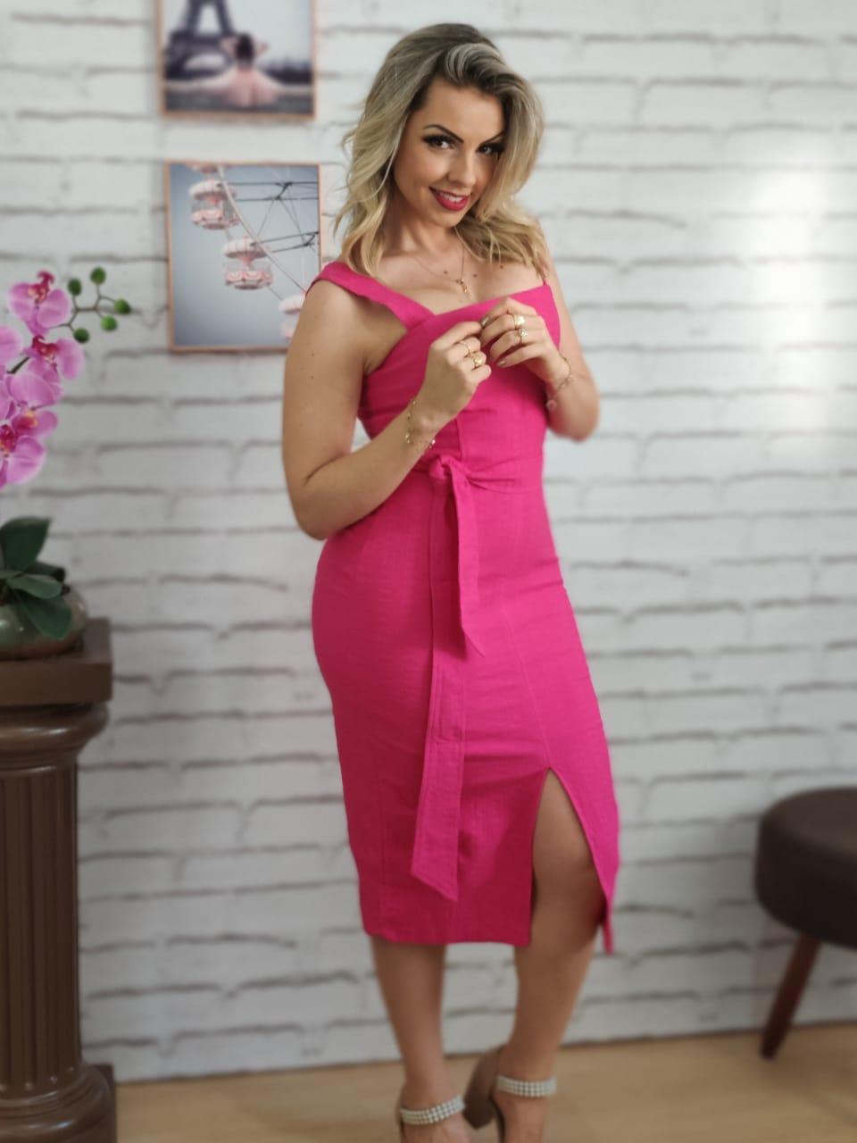 Vestido Midi Detalhe Fenda Pink