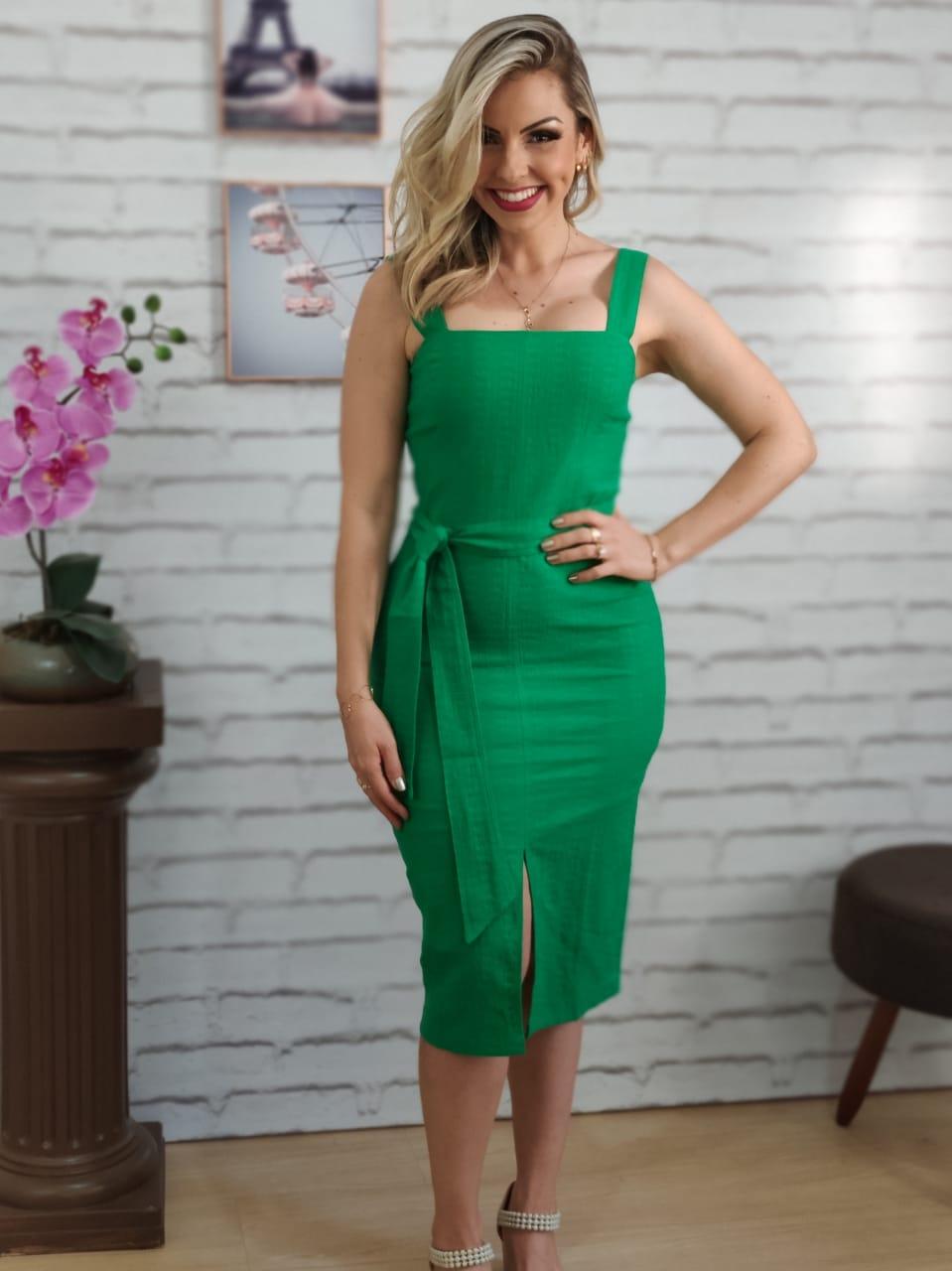Vestido Midi Detalhe Fenda Verde Bandeira