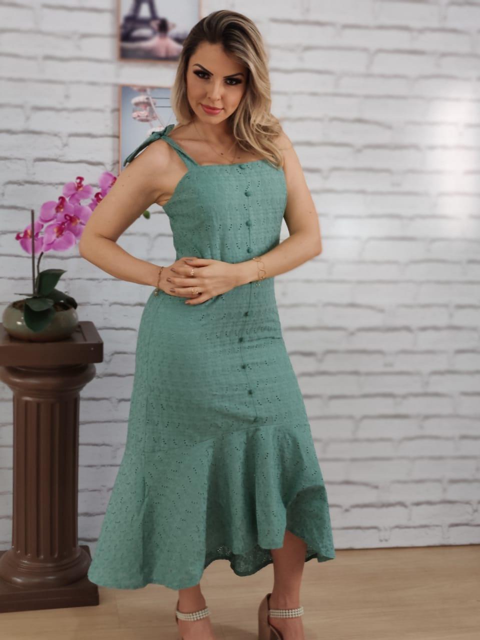 Vestido Midi em Laise Laço Alça Verde