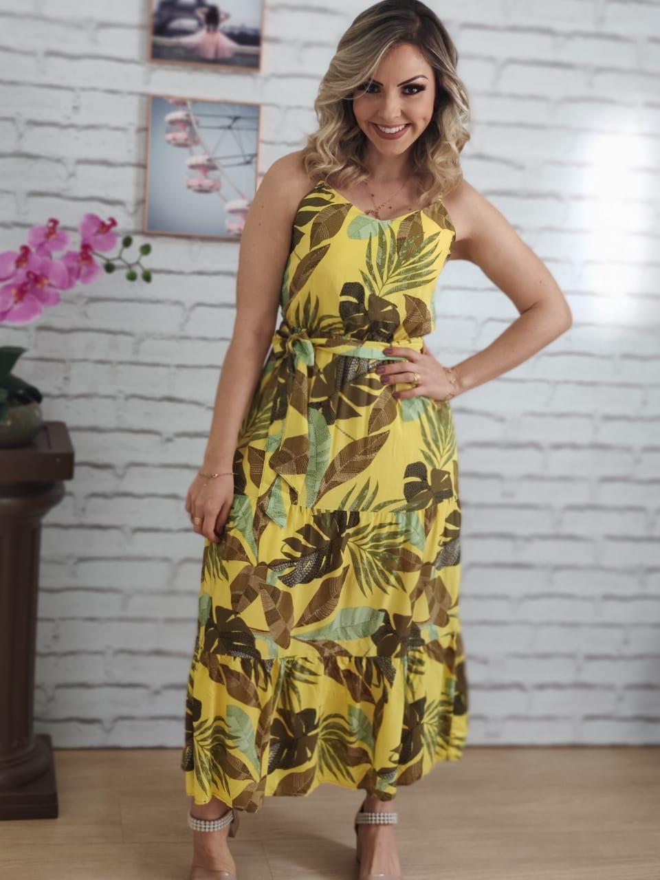 Vestido Midi Estampa Folha Amarelo