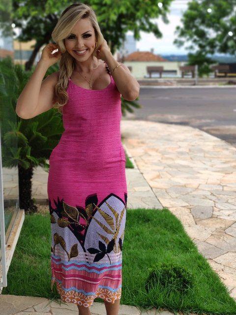 Vestido Midi Estampado Detalhe Alça Pink