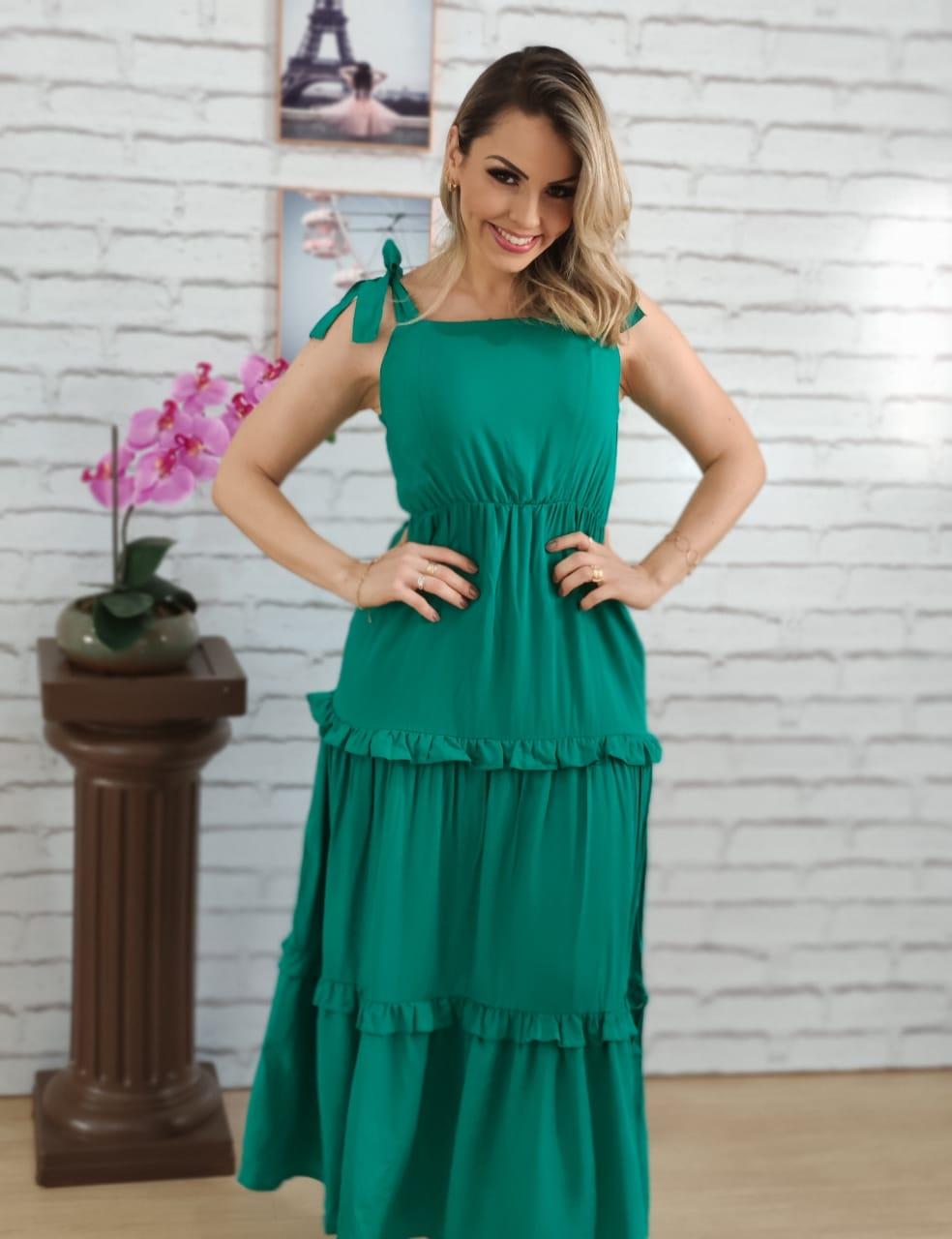 Vestido Midi Laço Alça Verde
