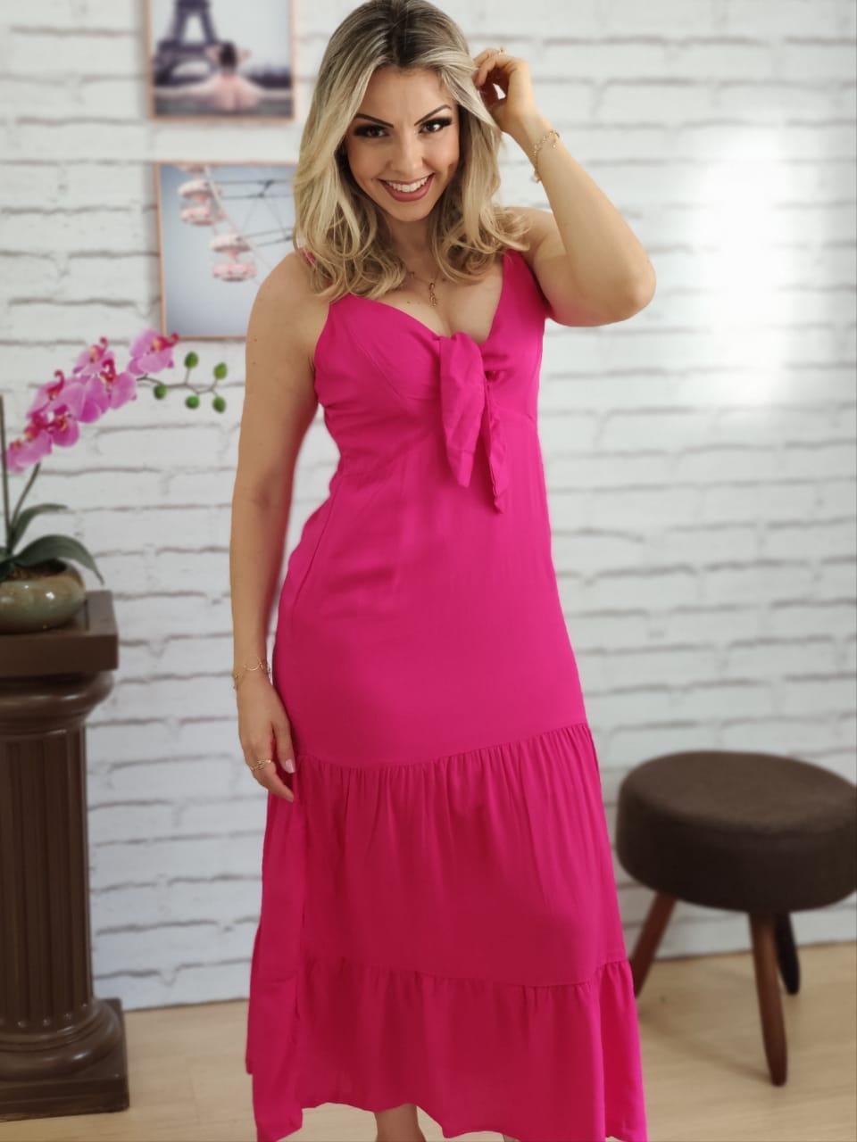 Vestido Midi Laço no Busto Pink
