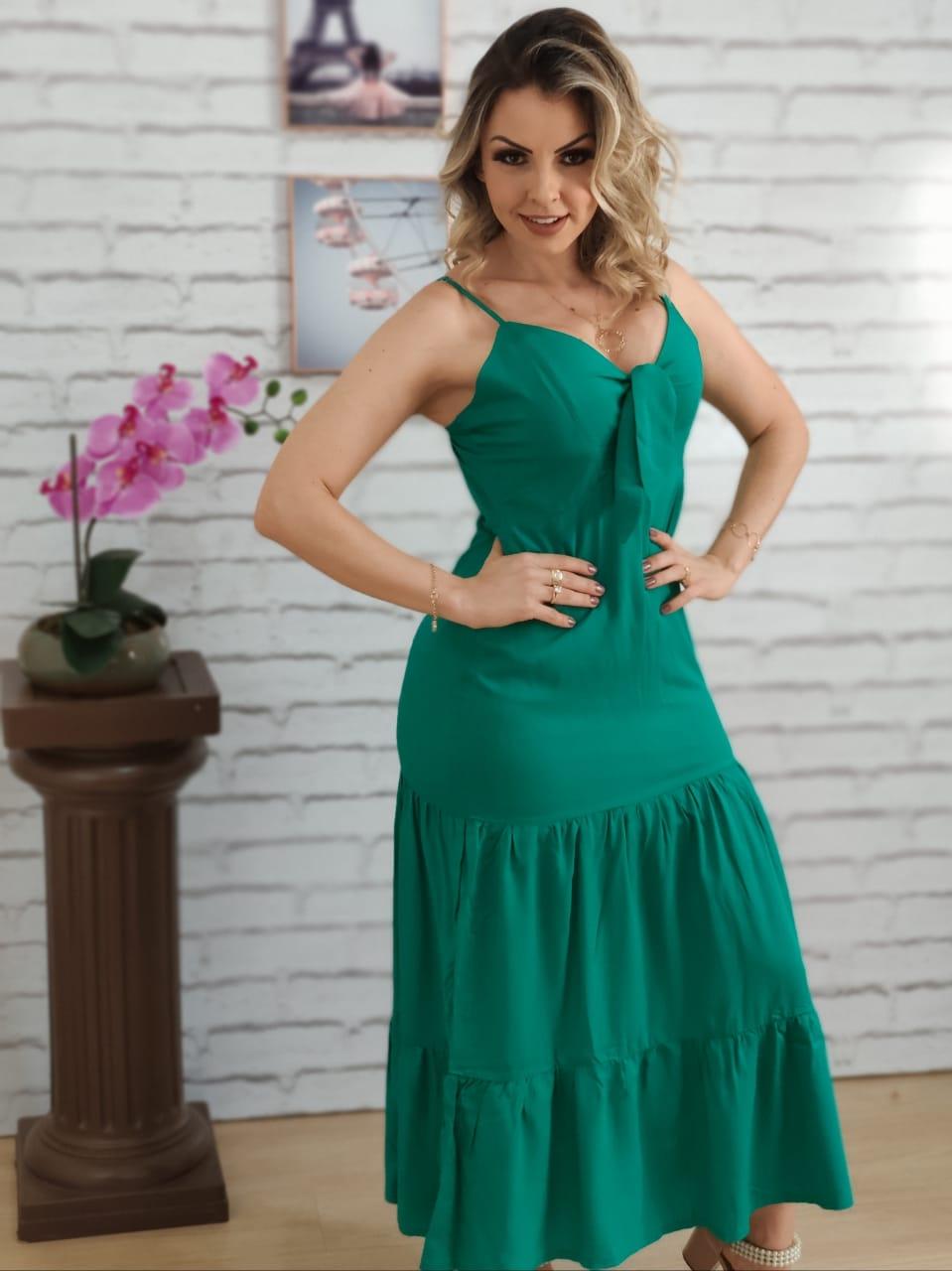 Vestido Midi Laço no Busto Verde