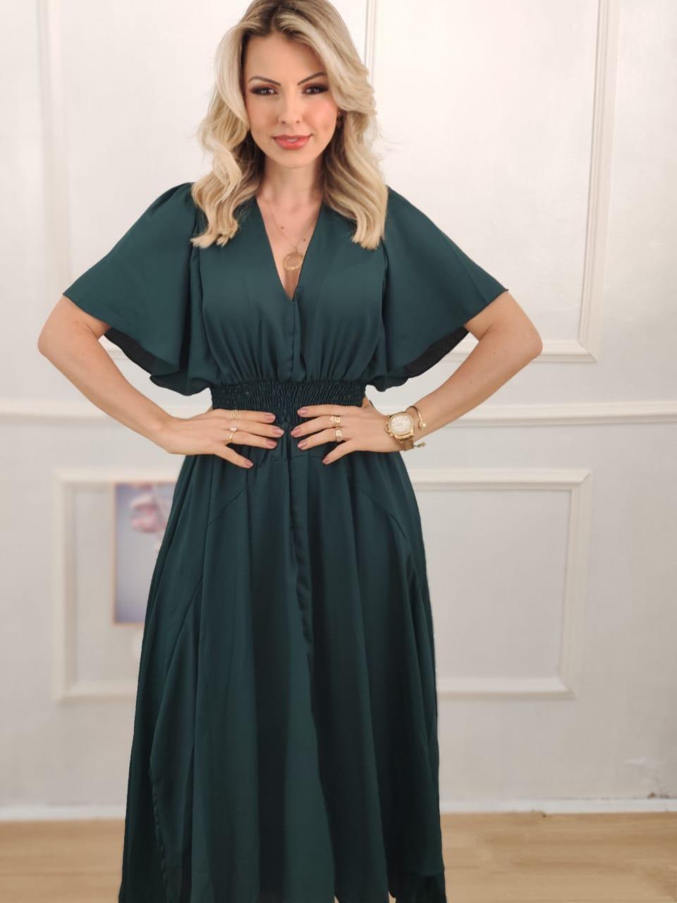 Vestido Midi Lastex Verde