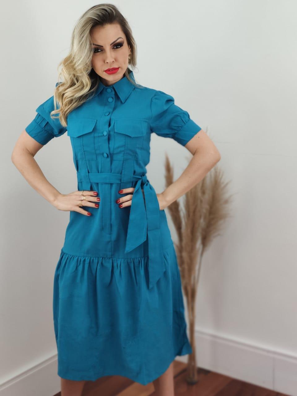 Vestido Midi Liocel Bolsos Busto Azul