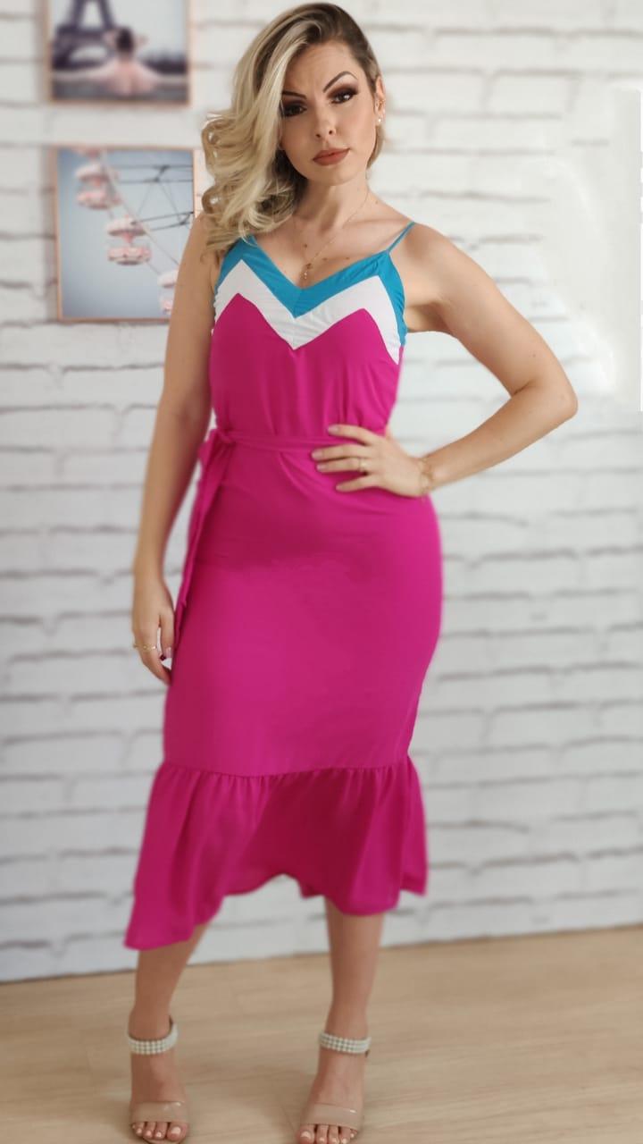 Vestido Midi Tricolor Pink