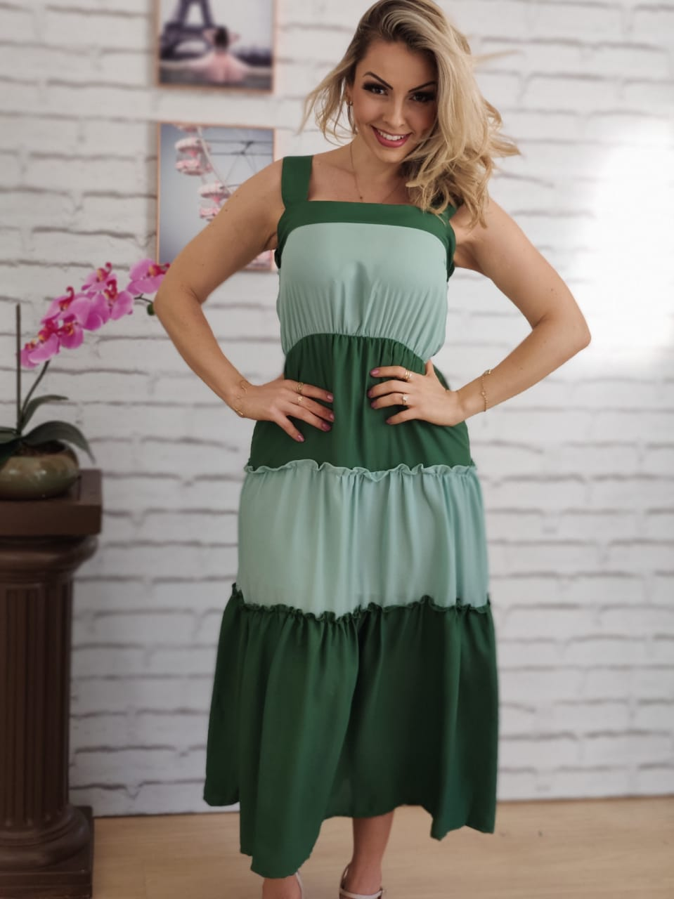Vestido Midi Tricolor Verde