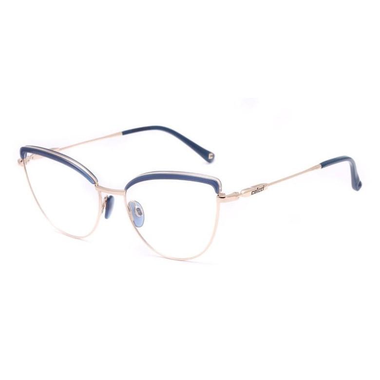 Armação de Óculos Colcci C6139 Gatinho Metal Azul e Dourado