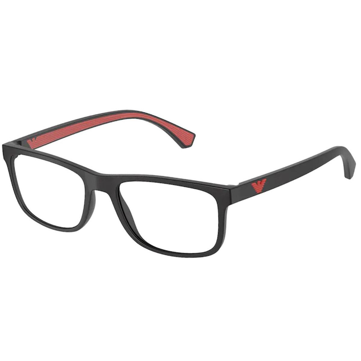 Armação de Óculos Empório Armani EA3147 Preto Fosco e Vermelho