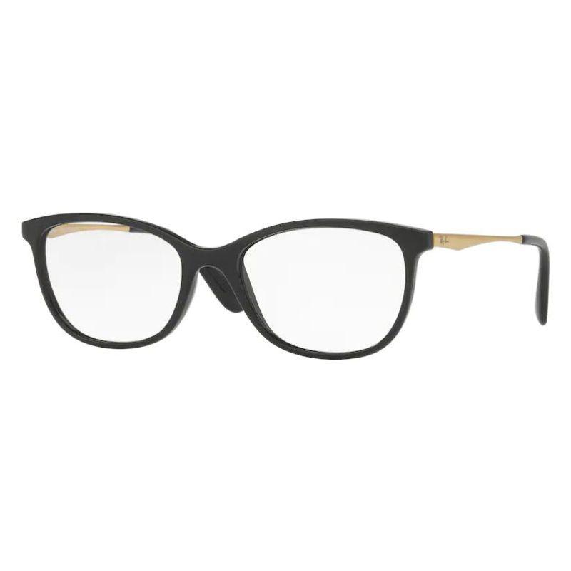 Armação de Óculos Feminina Ray Ban Preto Brilho RX7106L Acetato