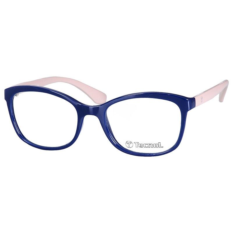 Armação de Óculos Feminino Tecnol TN3050 Azul e Bege Brilho
