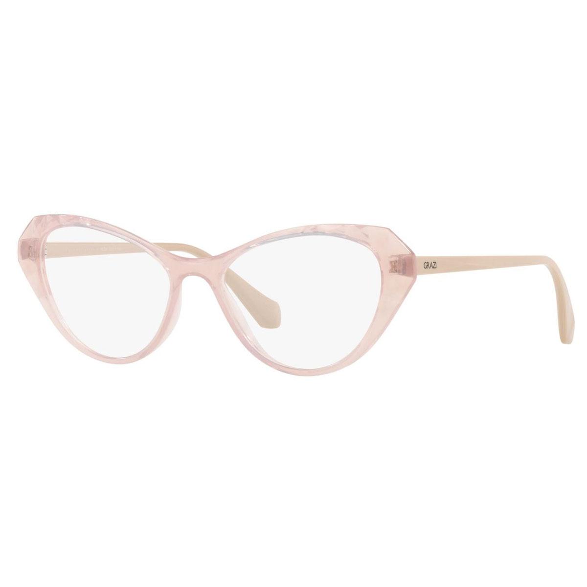 Armação de Óculos Grazi Gatinho GZ3081 Rosa Translúcido