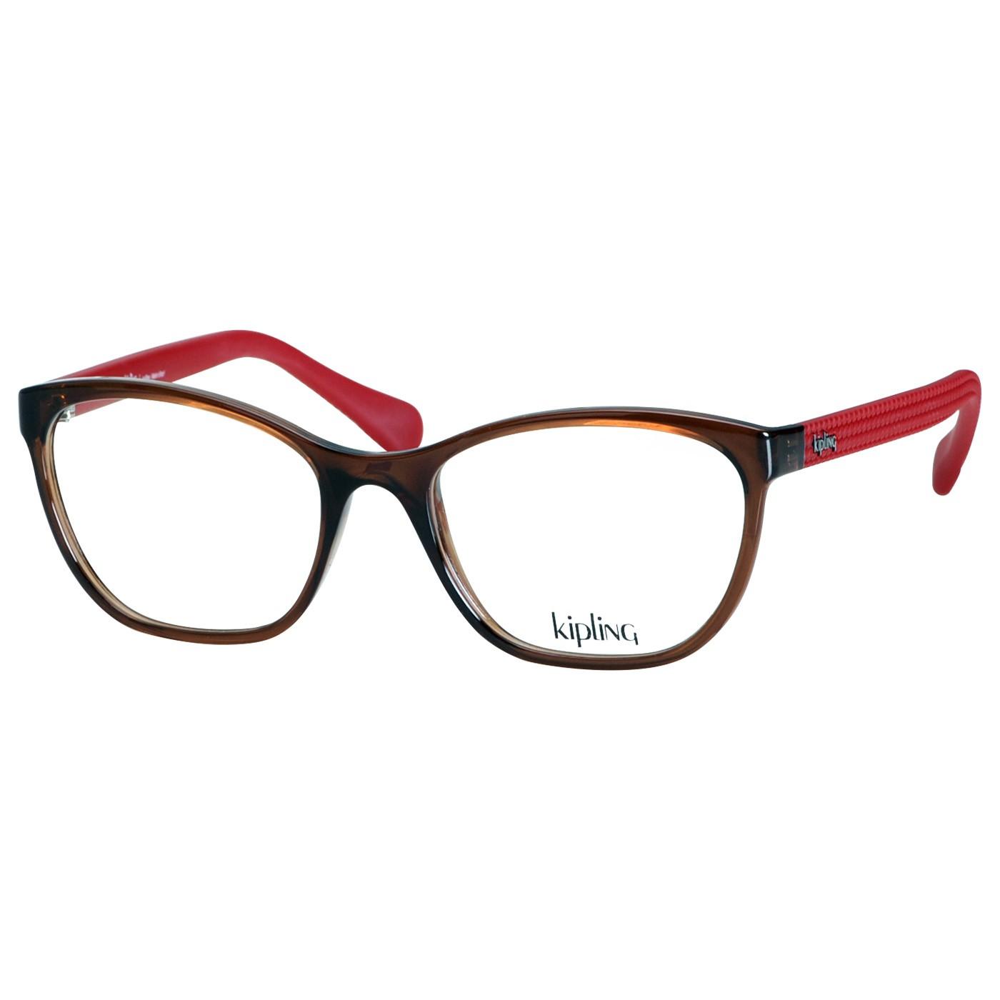 Armação de Óculos Kipling KP3103 Marrom Brilho e Vermelho