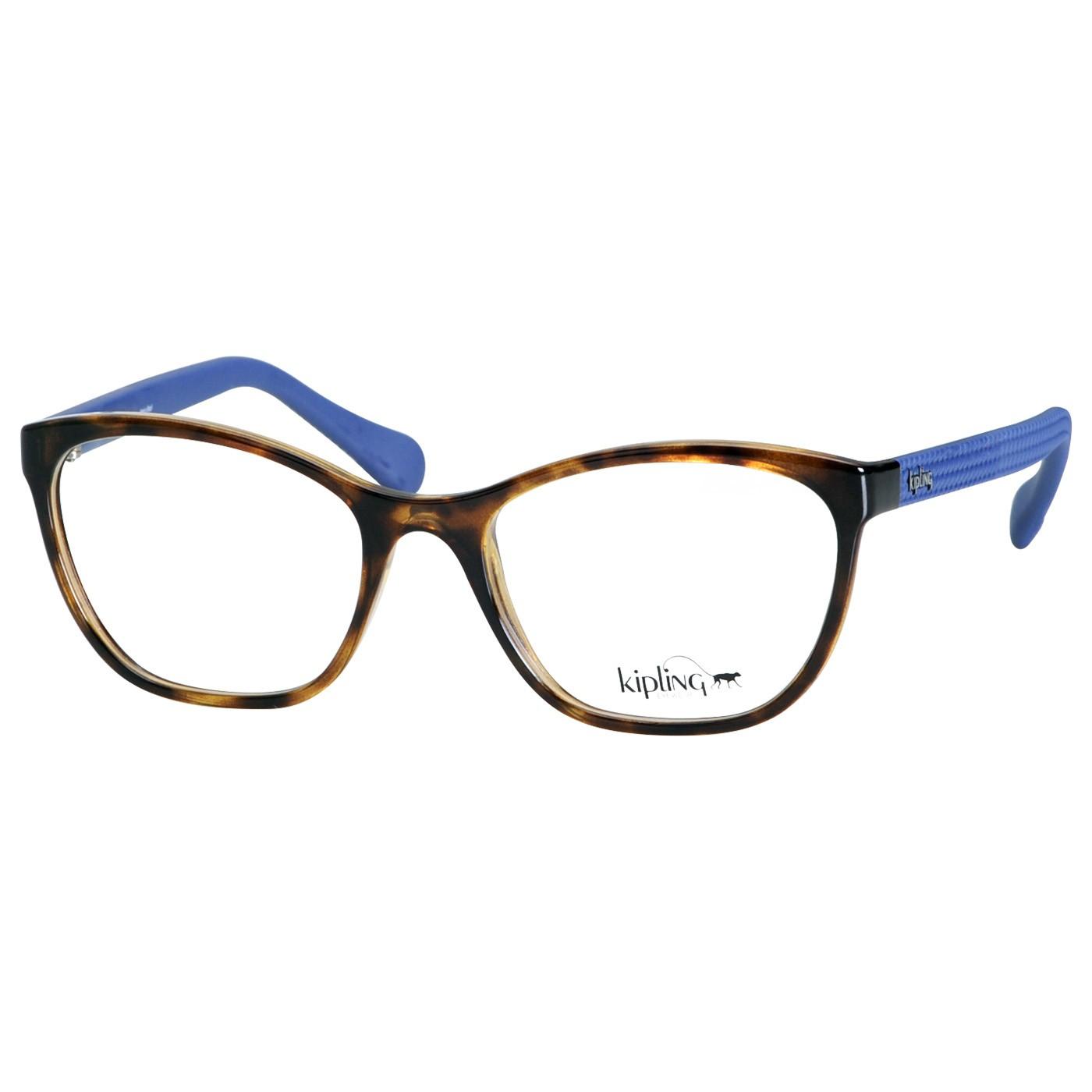 Armação de Óculos Kipling KP3103 Marrom Tartaruga Brilho e Azul