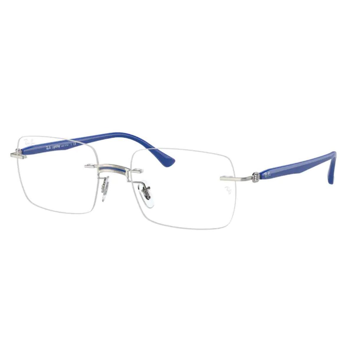 Armação de Óculos Parafusada RayBan RX8767 Titanium Prata e Azul