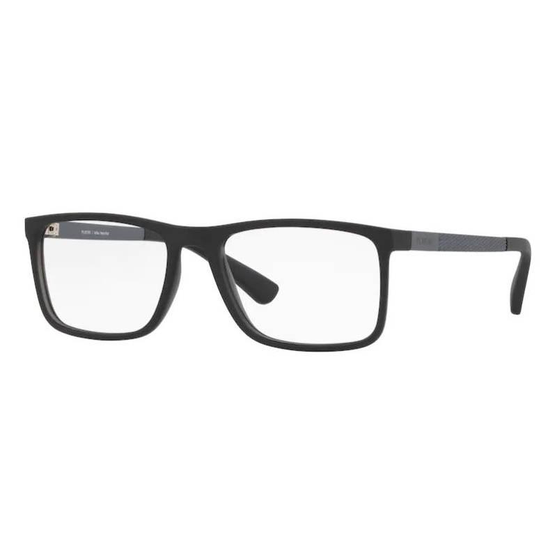 Armação de Óculos Platini P93144 Quadrado Preto com Cinza Fosco
