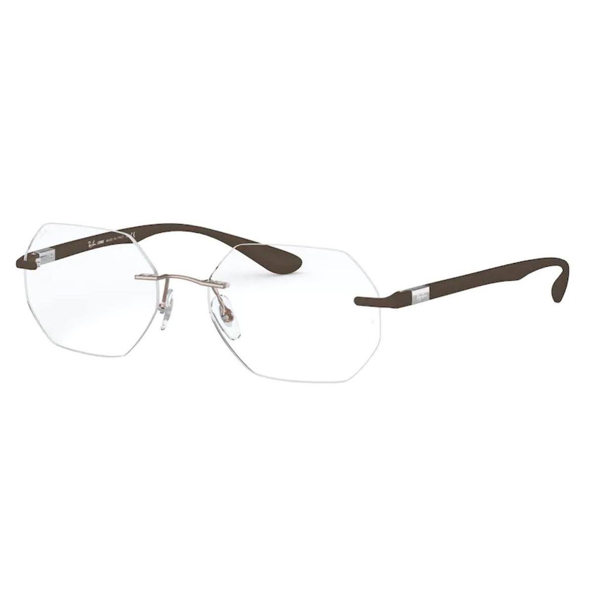 Armação de Óculos RayBan RX8765 Titanium Parafusado Marrom