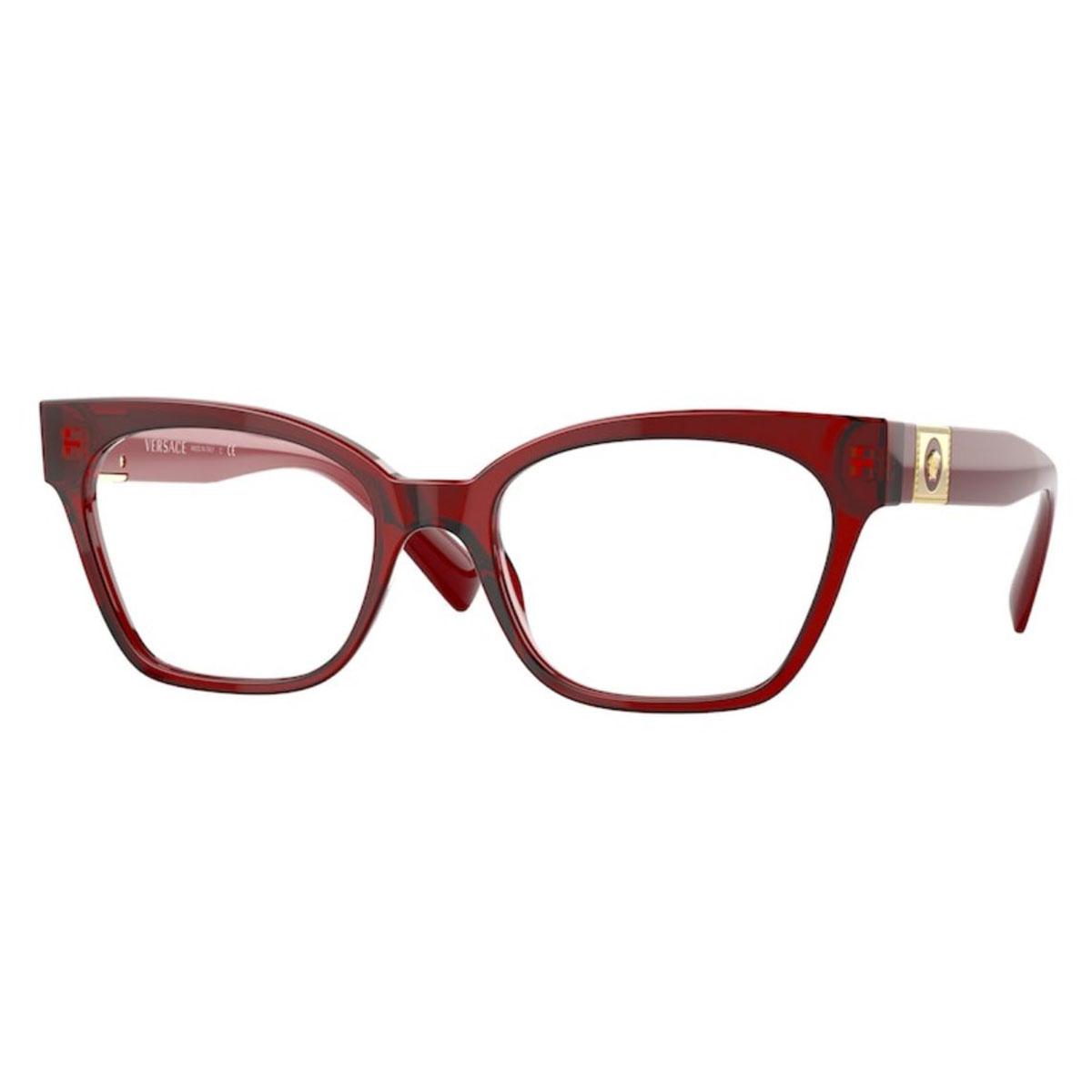 Armação de Óculos Versace Gatinho VE3294 Vermelho Translúcido