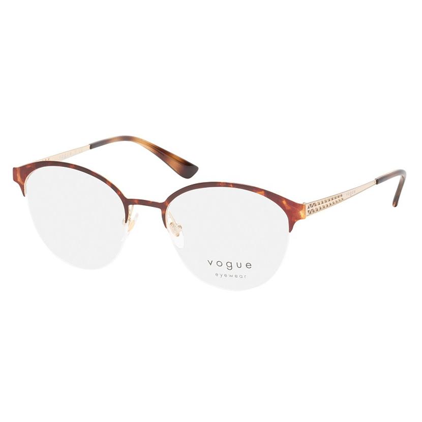 Armação de Óculos Vogue VO4176 Marrom Havana com Dourado Redondo