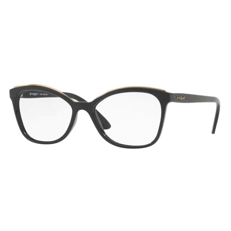Armação de Óculos Vogue VO5160L Preto Brilho Tamanho 54