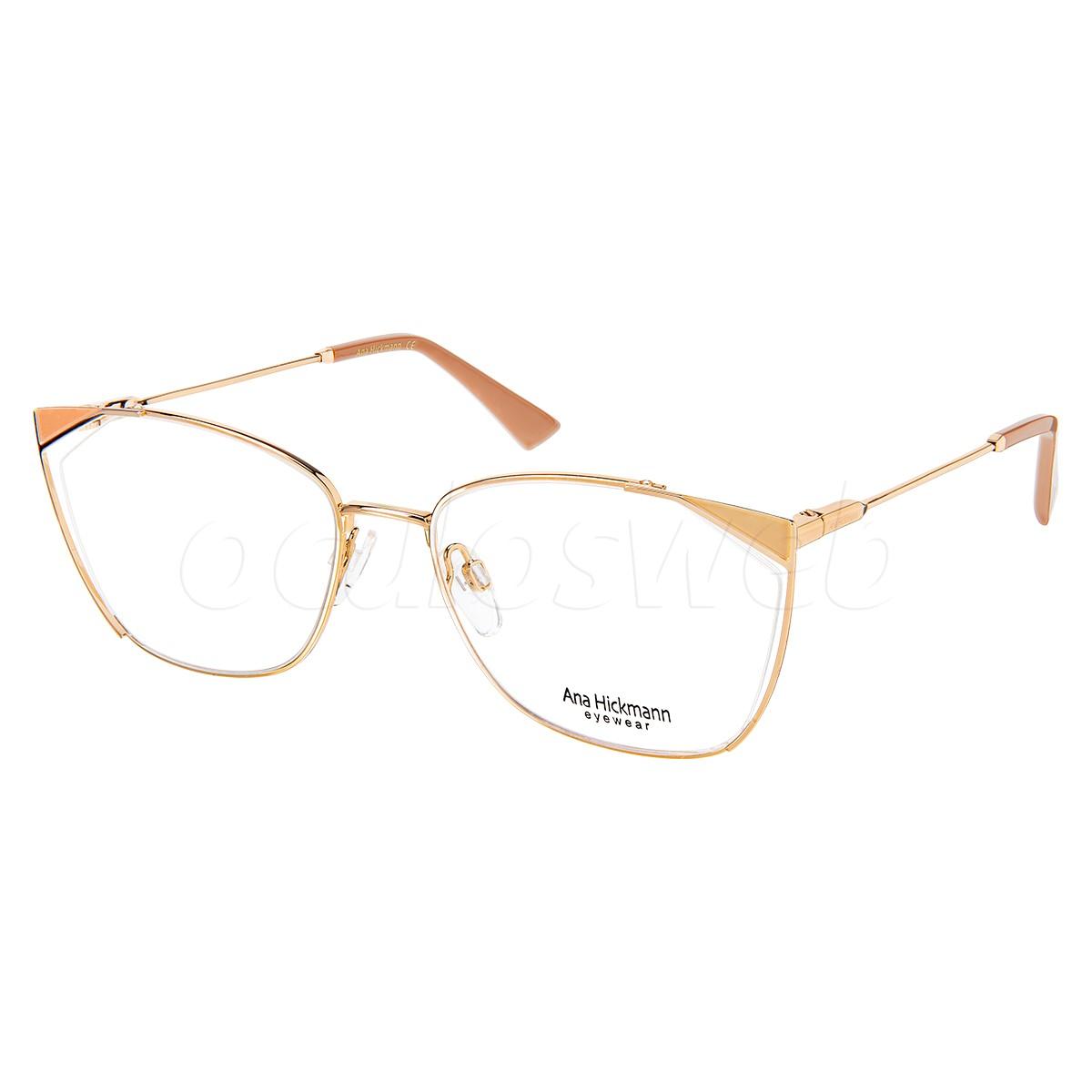 Óculos de Grau Ana Hickmann AH1403 Metal Dourado com Salmão
