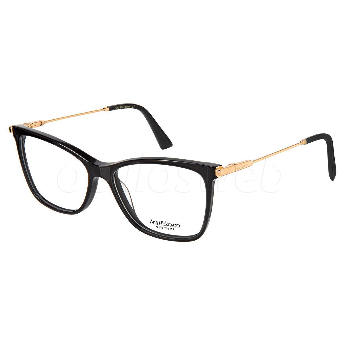 Óculos de Grau Ana Hickmann AH6406 Preto Brilho e Dourado
