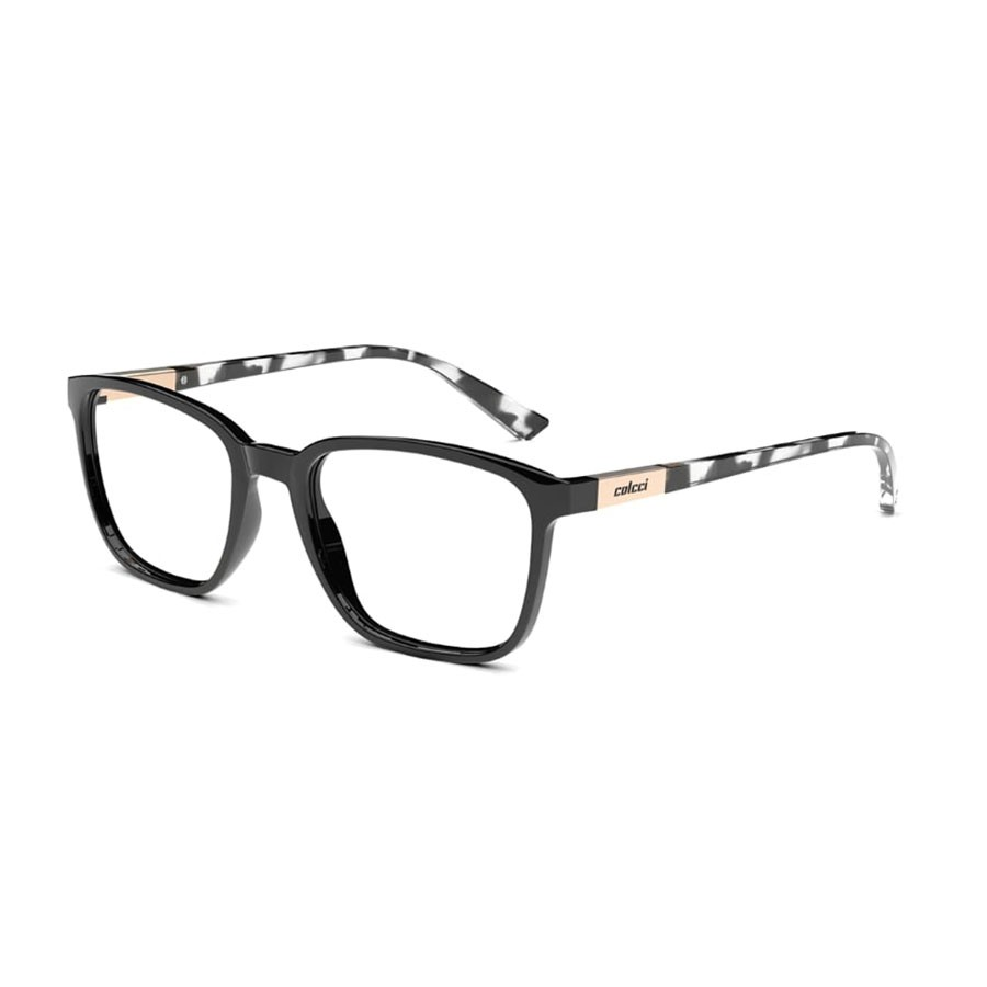 Óculos de Grau Colcci Liam C6144 Quadrado Preto Brilho Tamanho 53