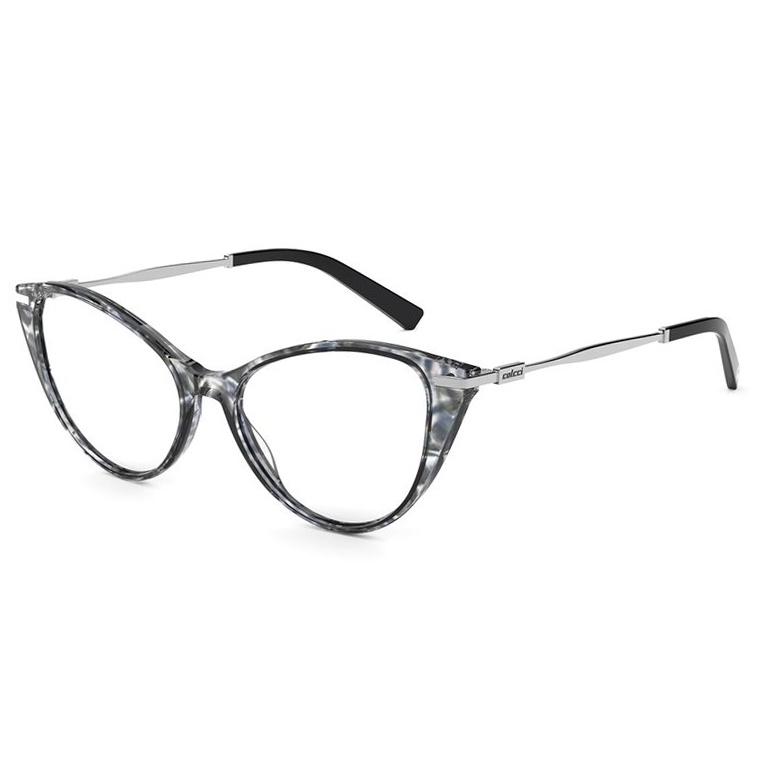 Óculos de Grau Colcci Rosa C6157 Azul Mármore com Cinza Gatinho