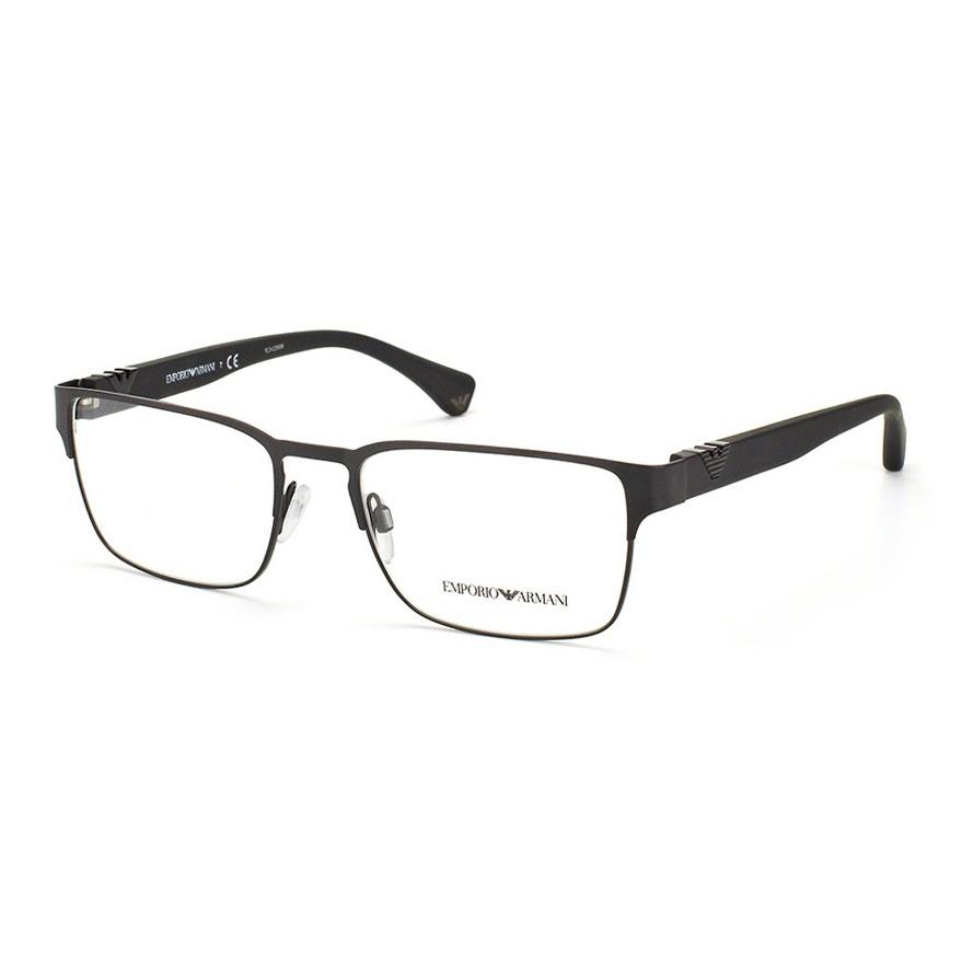 Óculos de Grau Empório Armani EA1027 Quadrado Metal Preto Fosco