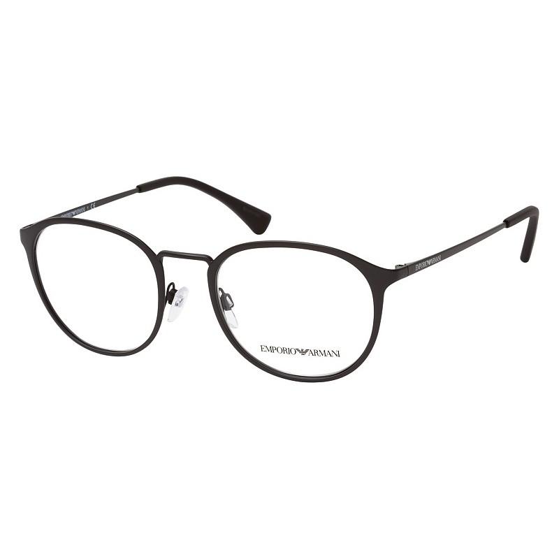 Óculos de Grau Empório Armani EA1091 Redondo Preto Fosco Tamanho 52