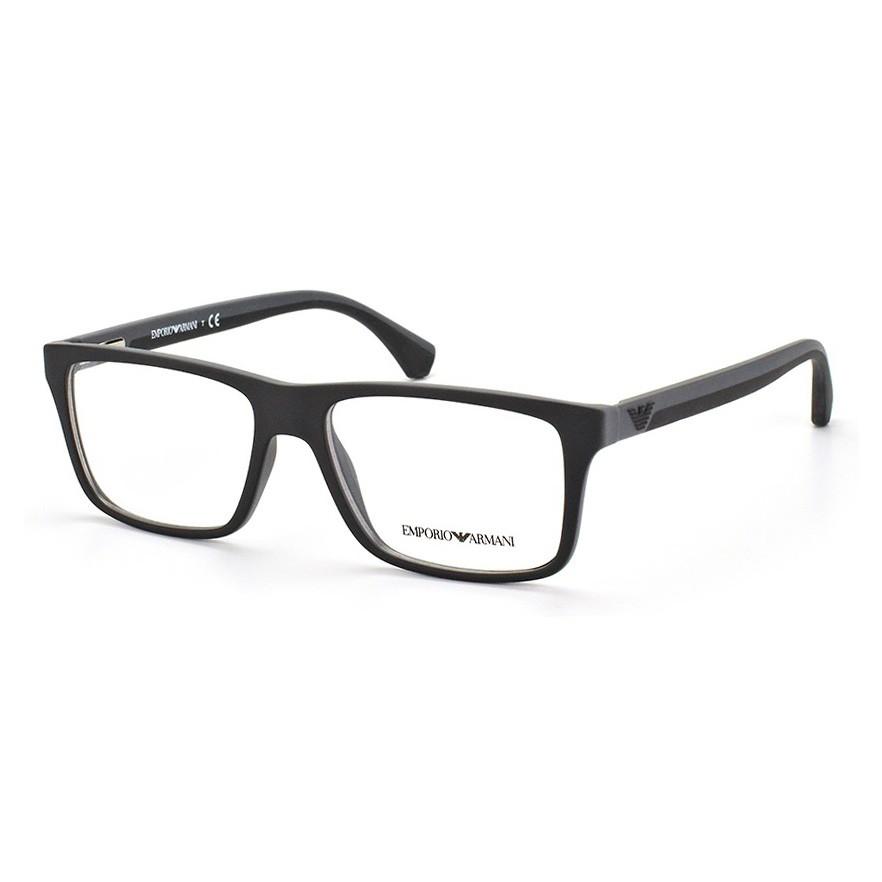 Óculos de Grau Empório Armani EA3034 Quadrado Preto com Cinza Fosco