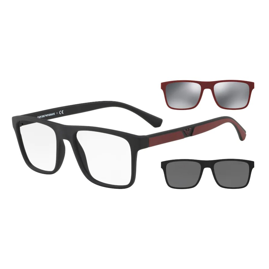 Óculos de Grau Empório Armani EA4115 Clipon Preto Fosco e Bordô