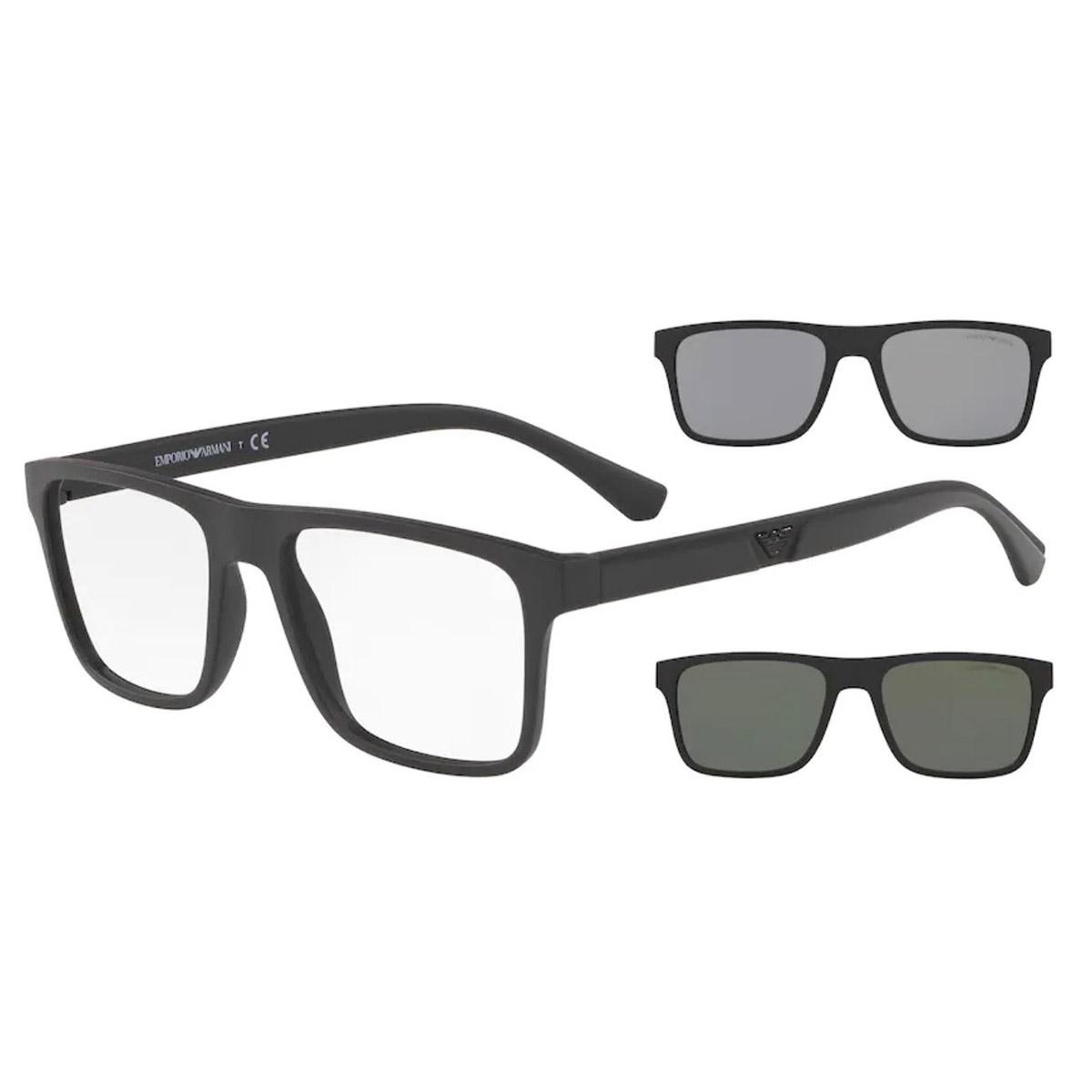 Óculos de Grau Empório Armani EA4115 Clipon Preto Fosco Masculino