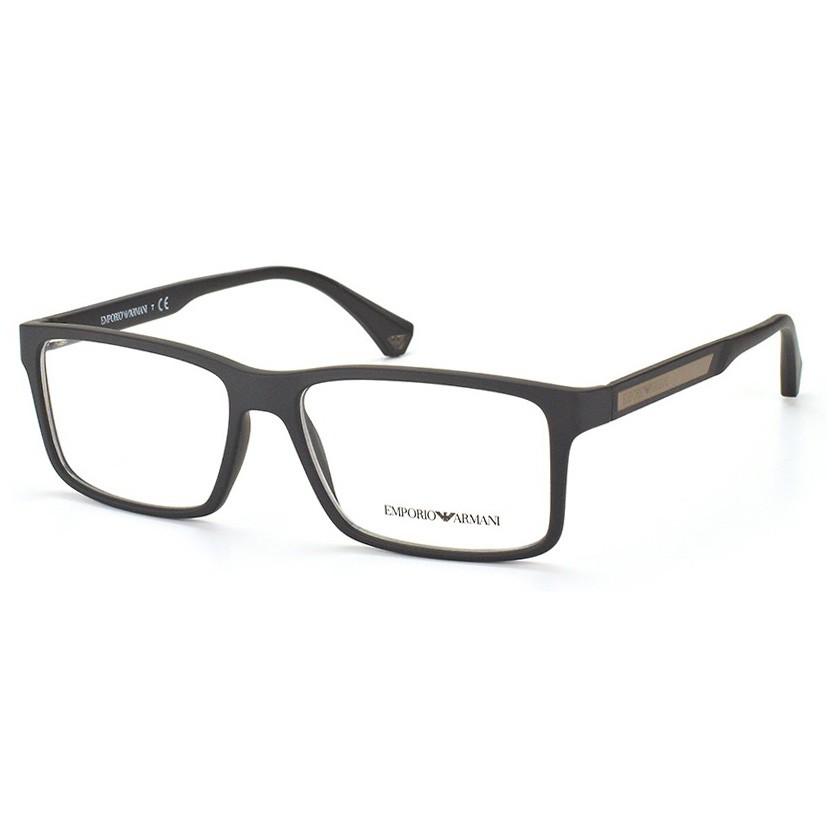 Óculos de Grau Emporio Armani Masculino EA3038 Preto Fosco Grande