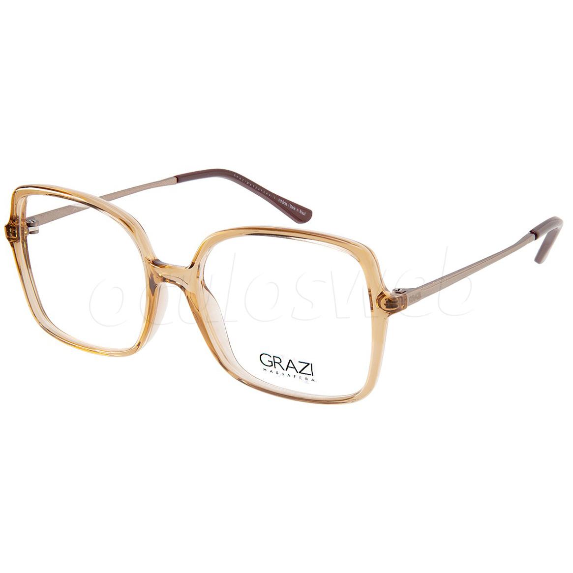 Óculos de Grau Feminino Grazi GZ3075 Marrom Translúcido Quadrado