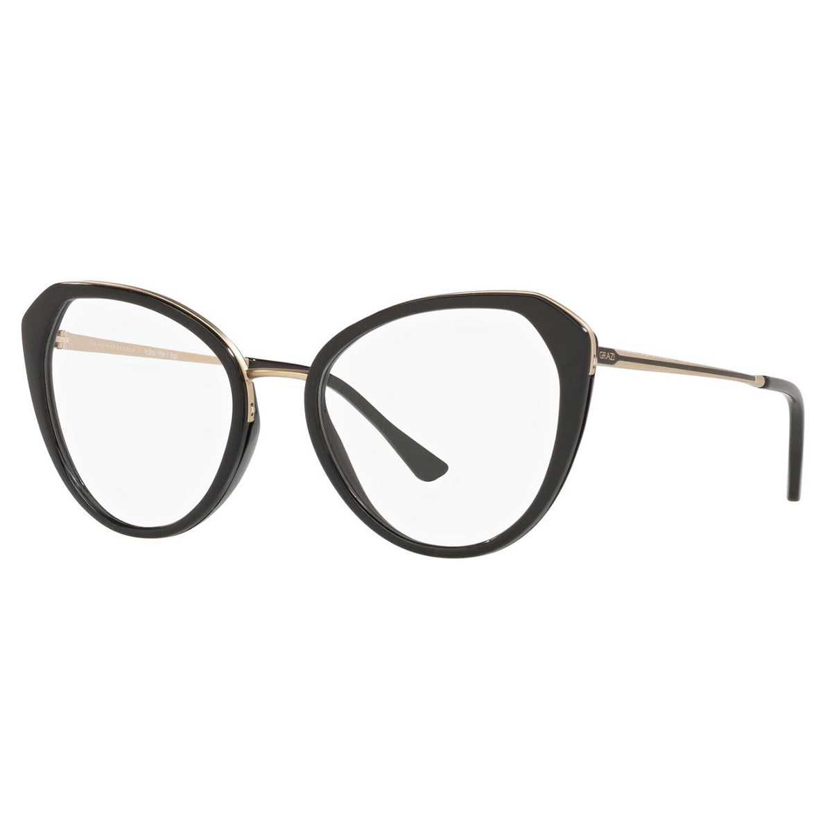 Óculos de Grau Feminino Grazi GZ3084 Preto Brilho Gatinho