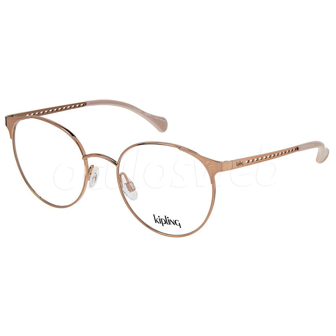 Óculos de Grau Feminino Kipling KP1112 Metal Dourado Rose Brilho