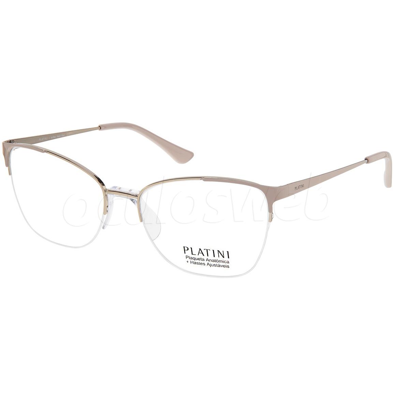 Óculos de Grau Feminino Platini P91186 Metal Dourado com Nude