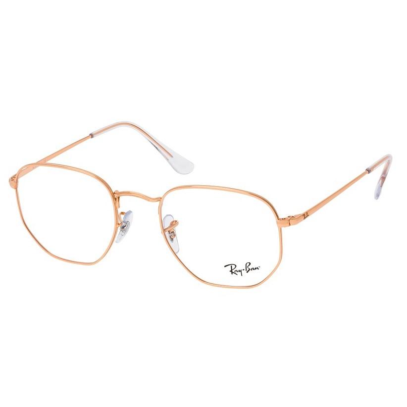 Óculos de Grau Feminino Ray Ban Hexagonal RX6448 Dourado Rose