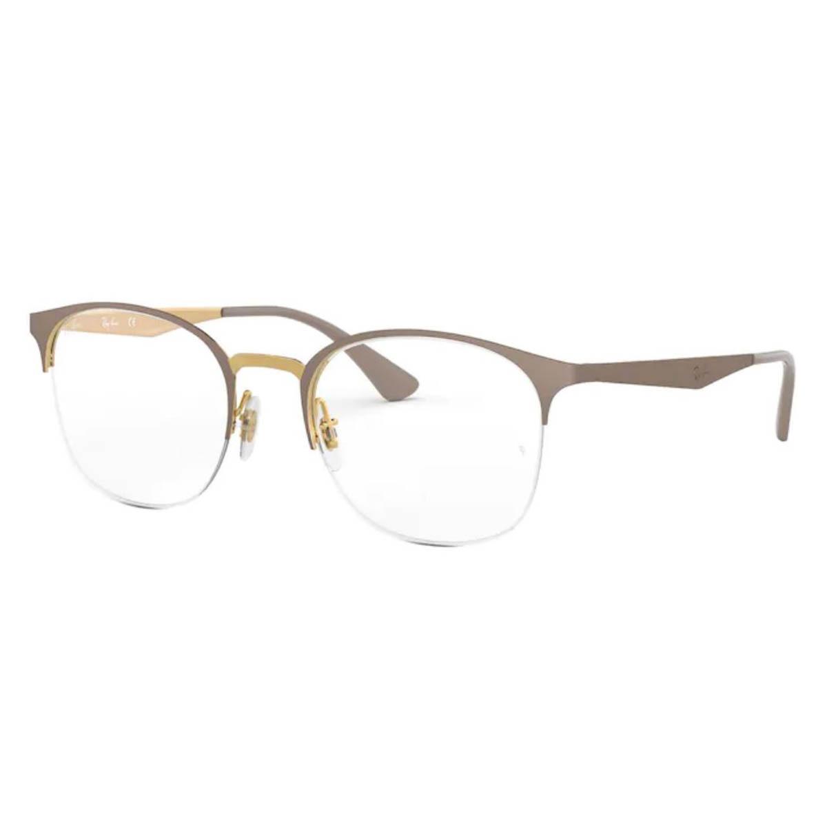 Óculos de Grau Feminino Ray Ban RX6422 Metal Bege Fosco e Dourado