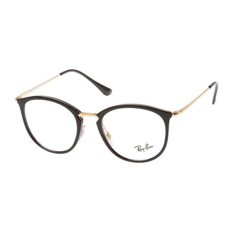 Óculos de Grau Feminino Ray Ban RX7140 Preto e Dourado Brilho